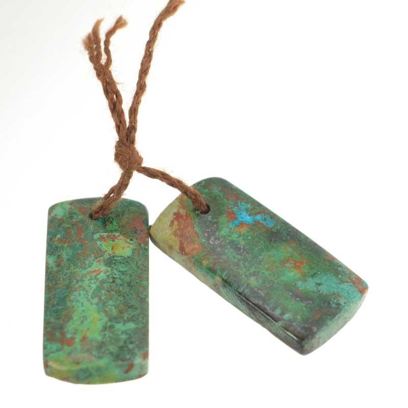 s64131 OOAK Stone Pendant - 22mm Rectangle - Chrysocolla (Pair)