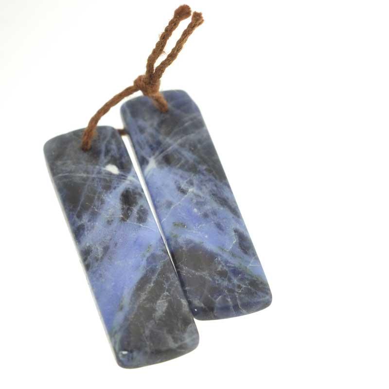 s64137 OOAK Stone Pendant - 36mm Rectangle Pair - Sodalite (Pair)