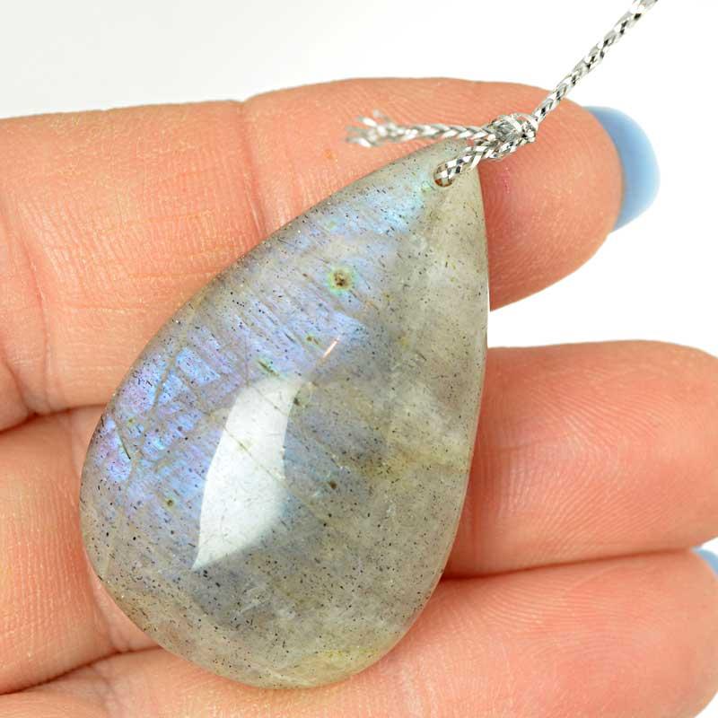 s64151 OOAK Stone Pendant - 40mm Tear Drop - Labradorite