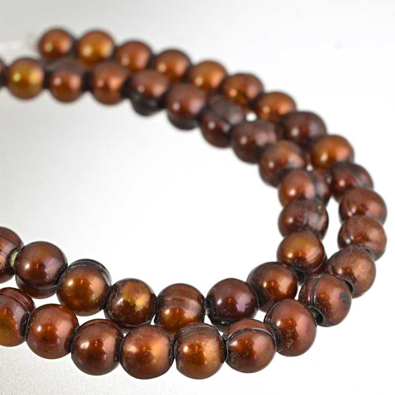s64196 Freshwater Pearls - 7.5-8mm Potato Pearl - Big Hole - Bronze Pearl (strand)