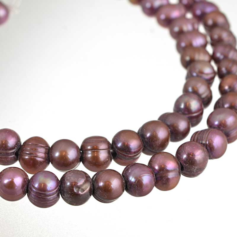 s64197 Freshwater Pearls - 10-10.5mm Potato Pearl - Big Hole - Red Plum Pearl (strand)
