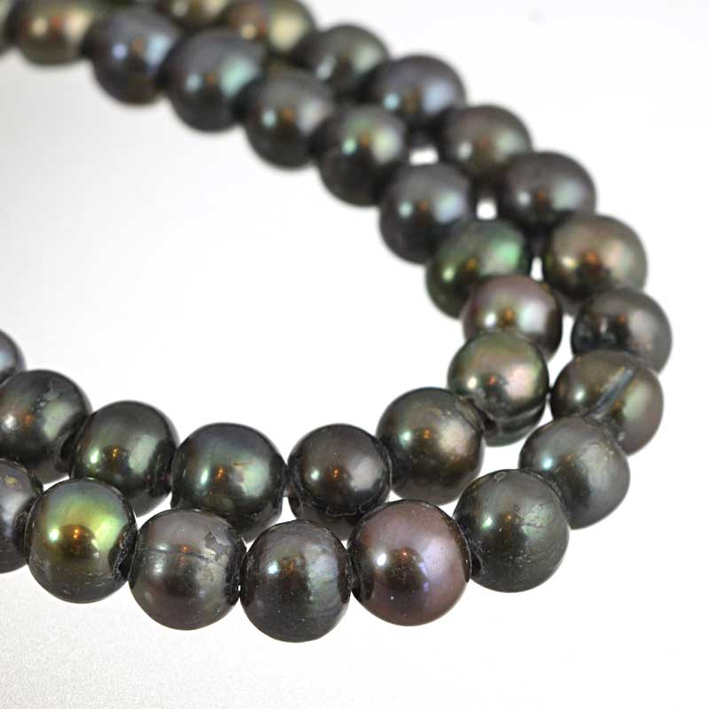 s64199 Freshwater Pearls - 8.5mm Near Round - Big Hole - Steel Green (strand)