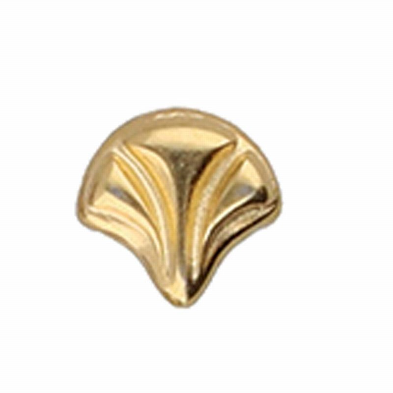 s64205 Cymbal Finding -  Maltas - Ginko Bead Substitute - 24 Kt Gold Plate (6)