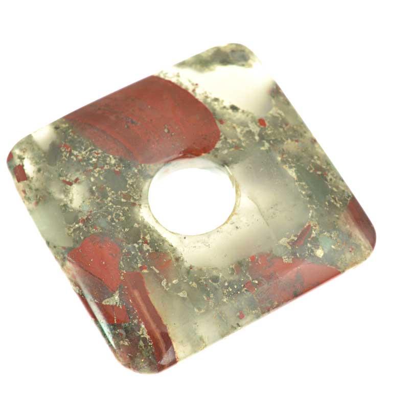 s64612 Stone - 50mm Square Donut Pendant - Poppy Jasper