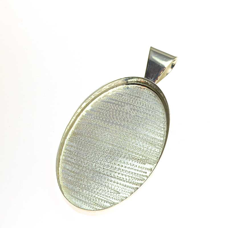 s64720 Resin Tray -  Oval Pendant - Bright Silver
