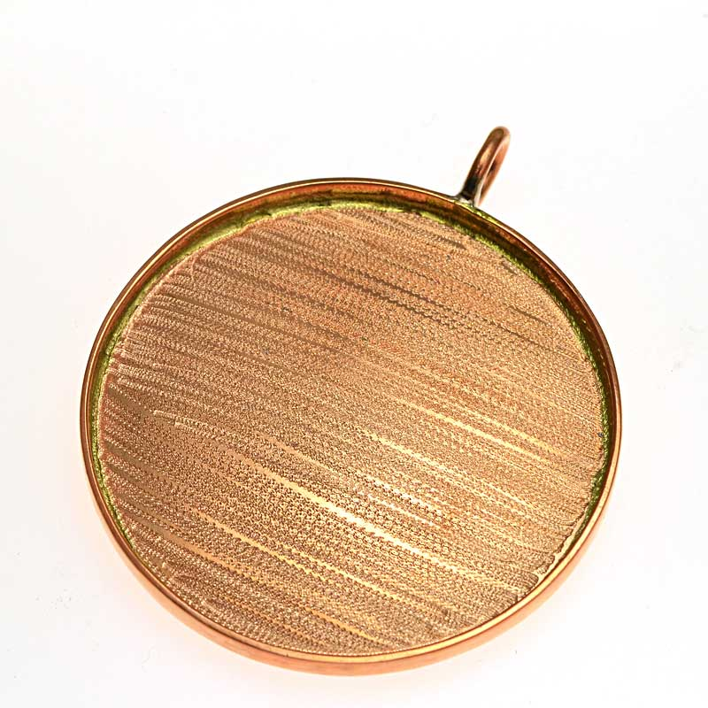 s64721 Resin Bezel Tray -  Round Pendant - Bright Copper