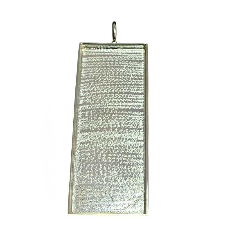 s64723 Resin Tray Rectangle Pendant 90mm - Bright Silver