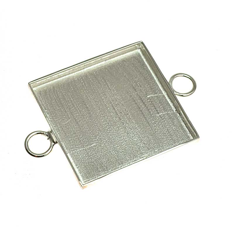 s64731 Resin Bezel Tray -  Square Link - Bright Silver