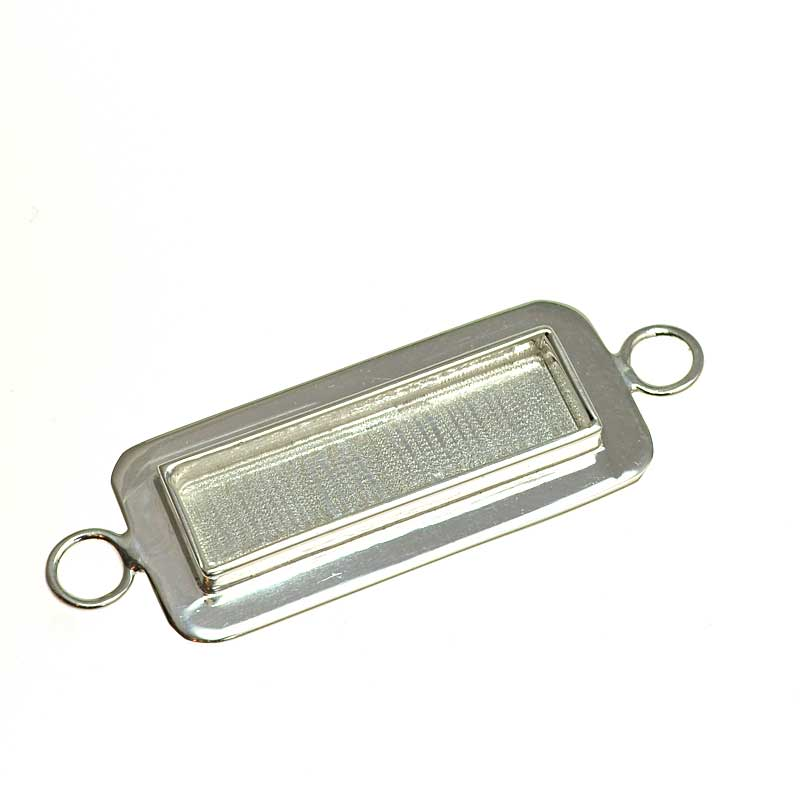 s64732 Resin Bezel Tray -  Lipped Rectangle Link - Bright Silver