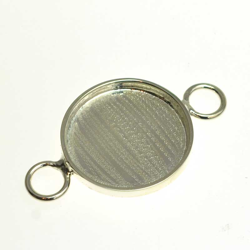 s64733 Resin Bezel Tray -  Round Link - Bright Silver