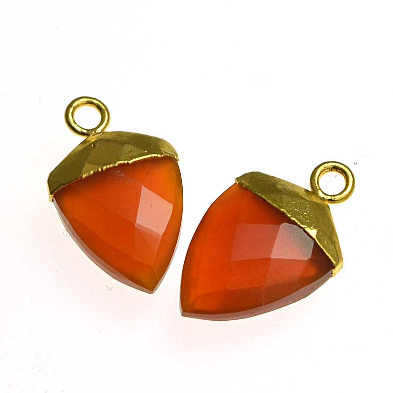 s64739 Stone Pendant -  Faceted Shield Drop with Cap - Carnelian - Goldplated (pair)
