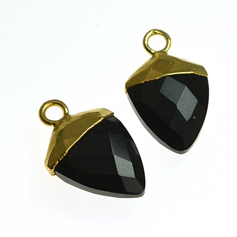 s64740 Stone Pendant -  Faceted Shield Drop with Cap - Black Agate - Goldplated (pair)