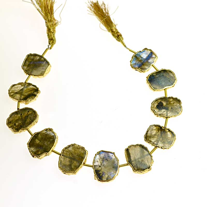 s64747 Stone - Limited Edition -  Live Edge Slabs - Labradorite - Goldplated (strand)