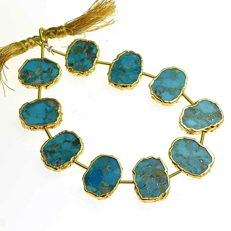 s64749 Stone - Limited Edition -  Live Edge Slabs - Turquoise - Goldplated (strand)