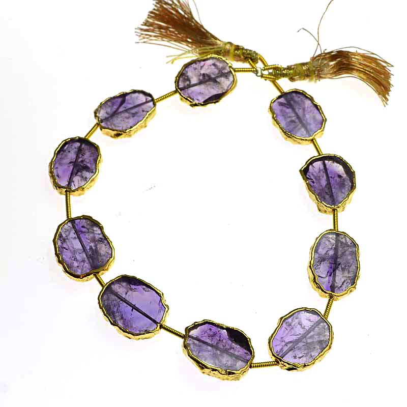 s64750 Stone - Limited Edition -  Live Edge Slabs - Amethyst - Goldplated (strand)
