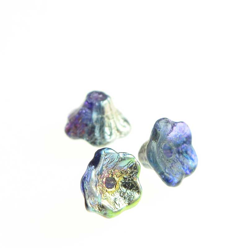 s64785 Glass Flower Beads Flared Cup Pressed Bell 7x5mm - Magic Blueberry (25)
