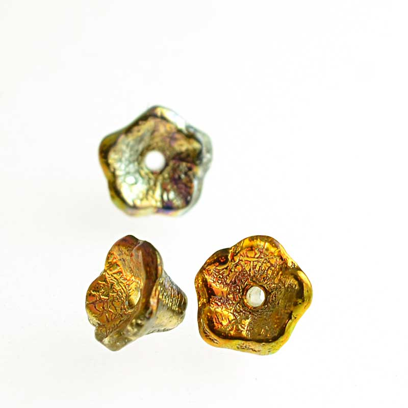 s64787 Glass Flower Beads Flared Cup Pressed Bell 7x5mm - Magic Topaz (25)
