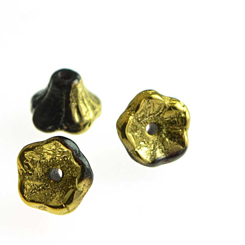 s64789 Glass Flower Beads Flared Cup Pressed Bell 7x5mm - Jet Gold (25)