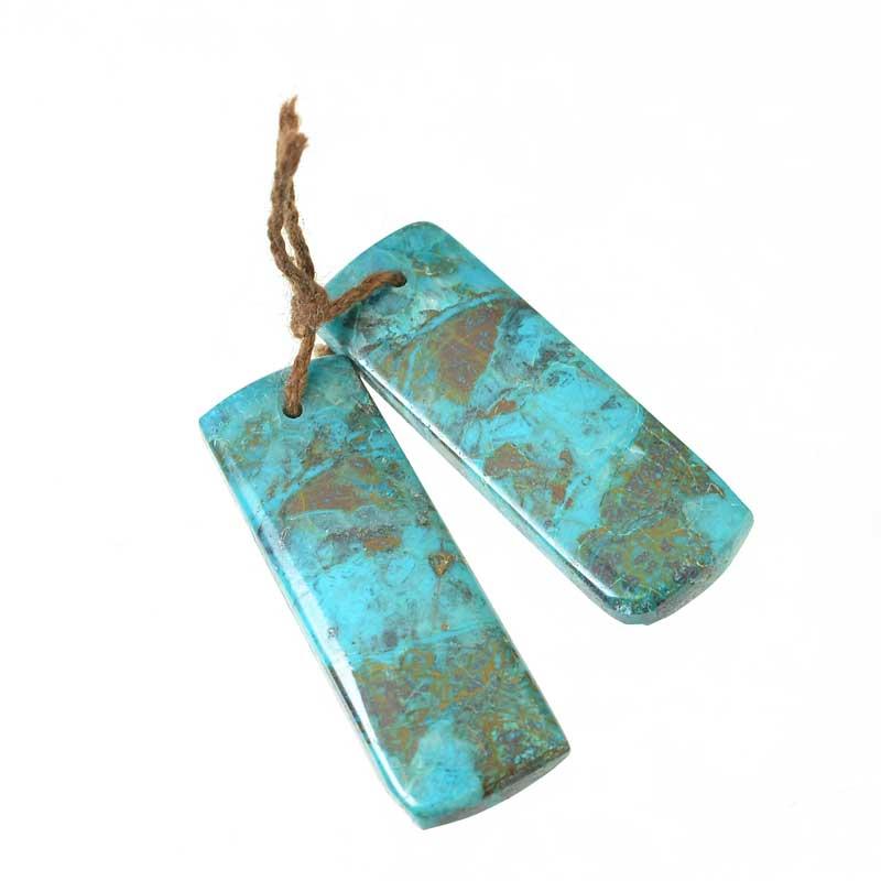 s64878 OOAK Stone Pendant -  Rectangle - Chrysocolla (Pair)