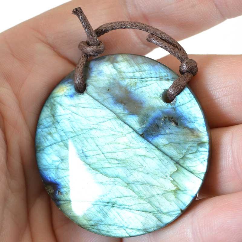 s64887 OOAK Stone Pendant -  Circle - Labradorite