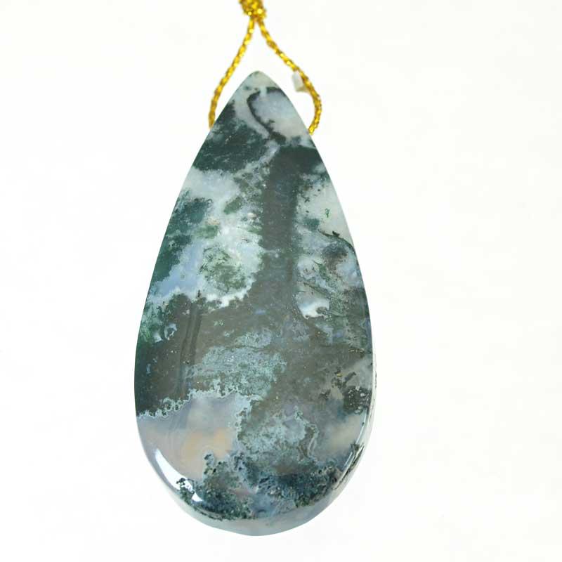 s64889 OOAK Stone Pendant -  Teardrop - Moss Agate