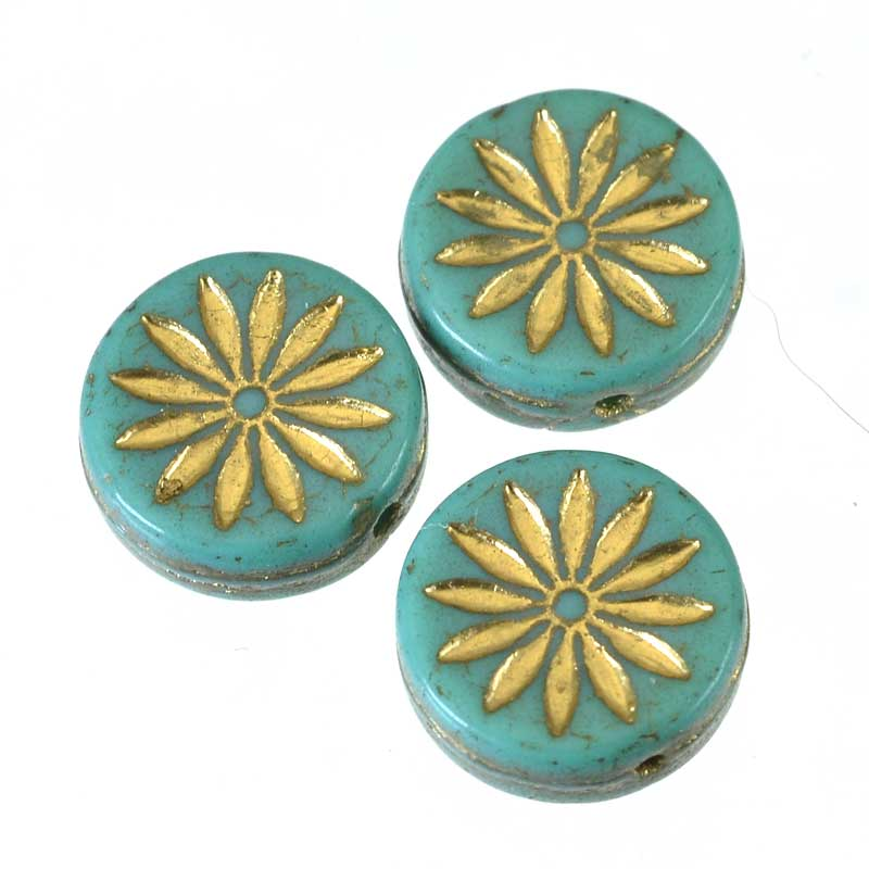 s64917 Glass Beads Dahlia Flower Coin 12mm - Turquoise (15)