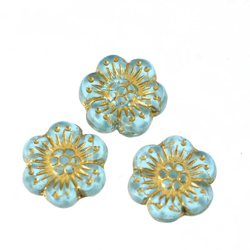 s64919 Glass Beads Wild Rose Flower 12mm - Aqua (12)