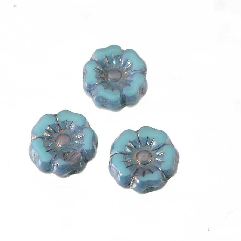 s64928 Czech Glass Hibiscus Flower 7mm - Blue Turquoise Lumi (12)