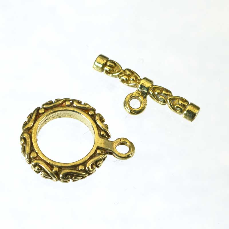 s64939 Toggle Clasp -  Ornated Carved - Bright Brass