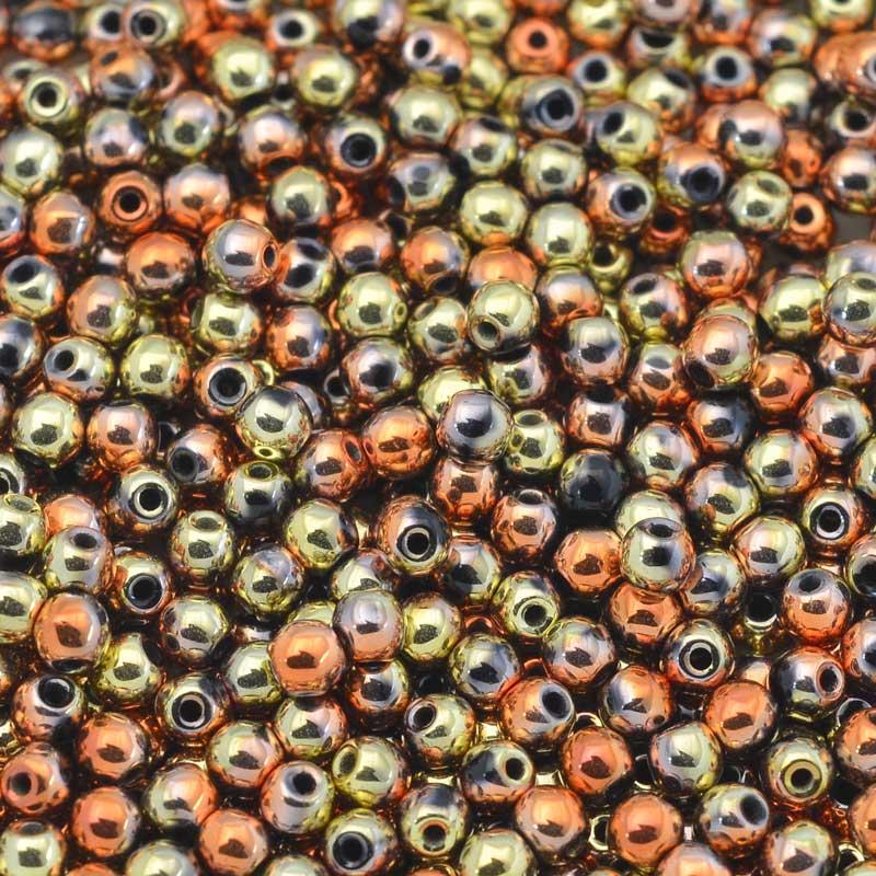 s65034 Glass Beads Round 3mm - Jet California Gold Rush (100)