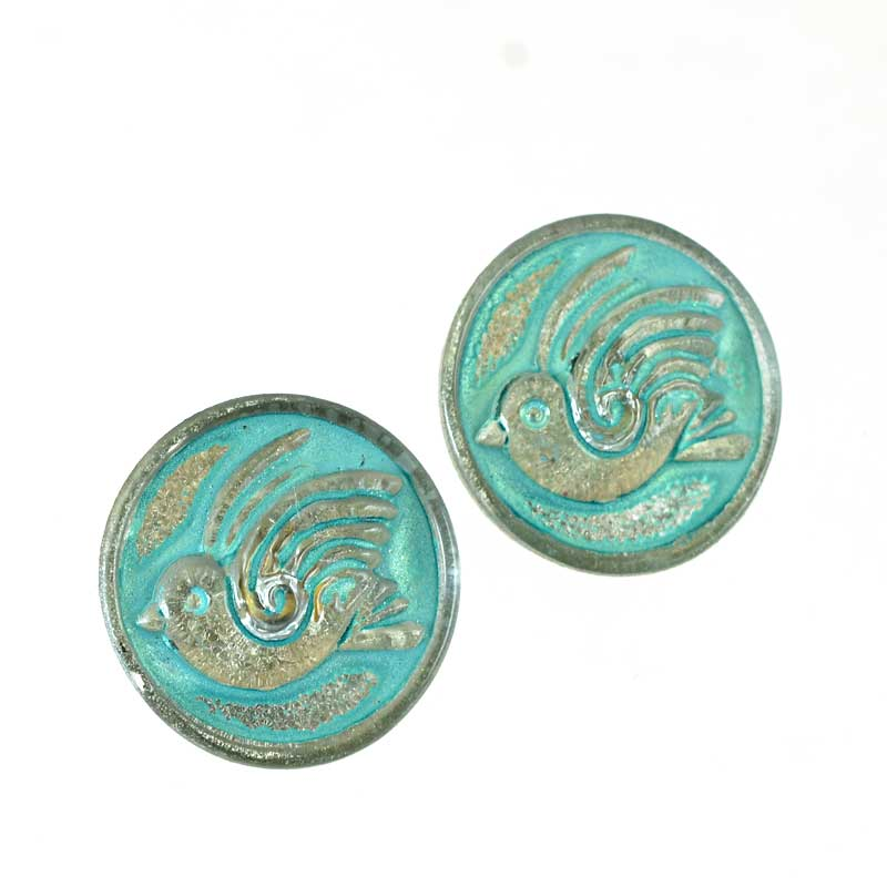 s65042 Czech Glass Button - 18mm Round Birdie - Antiqued Turquoise
