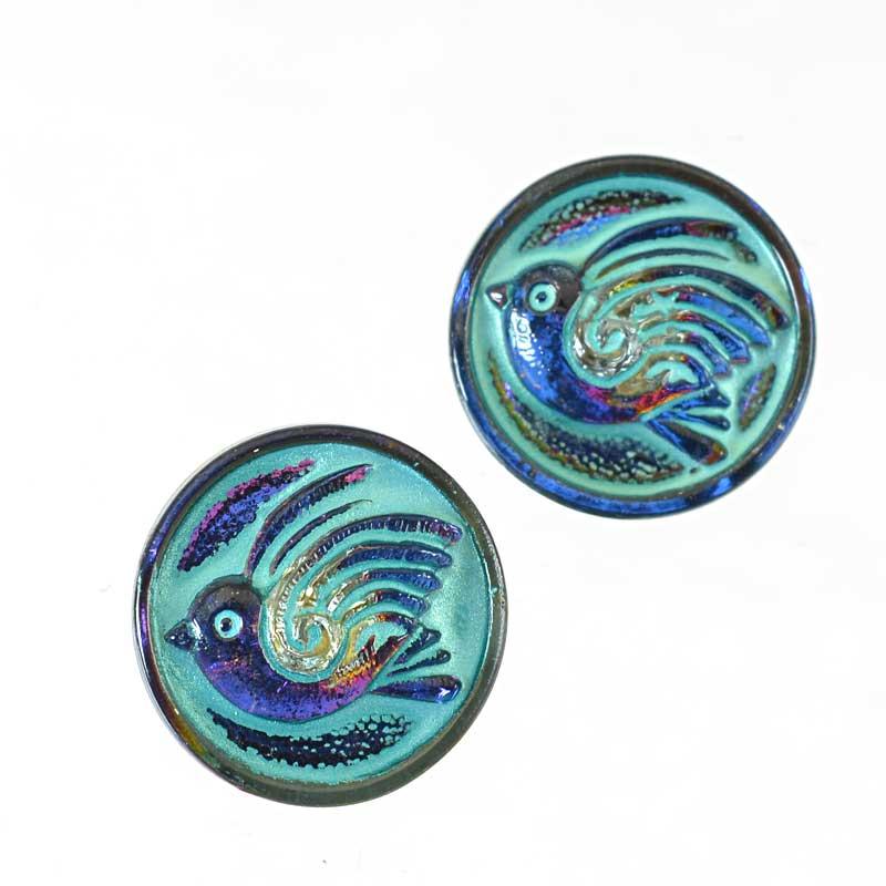 s65043 Czech Glass Button - 18mm Round Birdie - Turquoised Iridescent