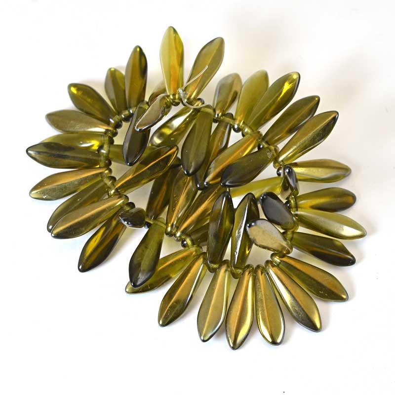 s65715 Fringe Beads Dagger Beads 16mm - Transparent Olive Gold Luster (25)