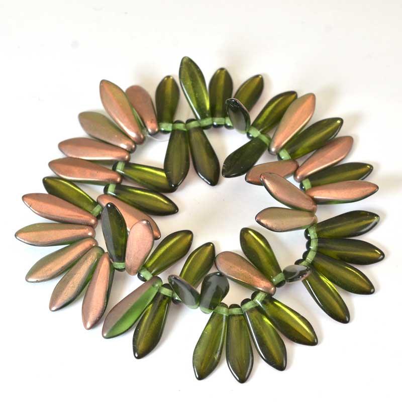 s65719 Fringe Beads Dagger Beads 15mm - Olive Capri (25)