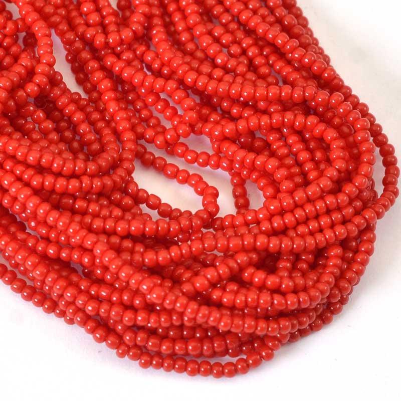 s65744 Czech Seedbeads - 12/0  - Opaque Dark Red (hank)