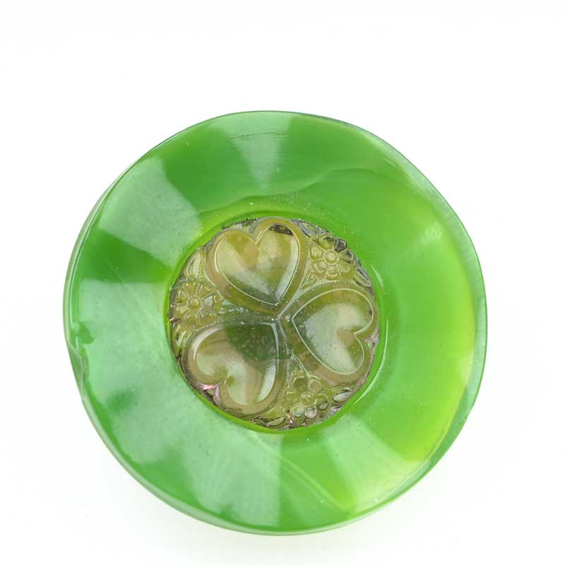 s66440 Czech Glass Button -  Heart Flower - Key Lime