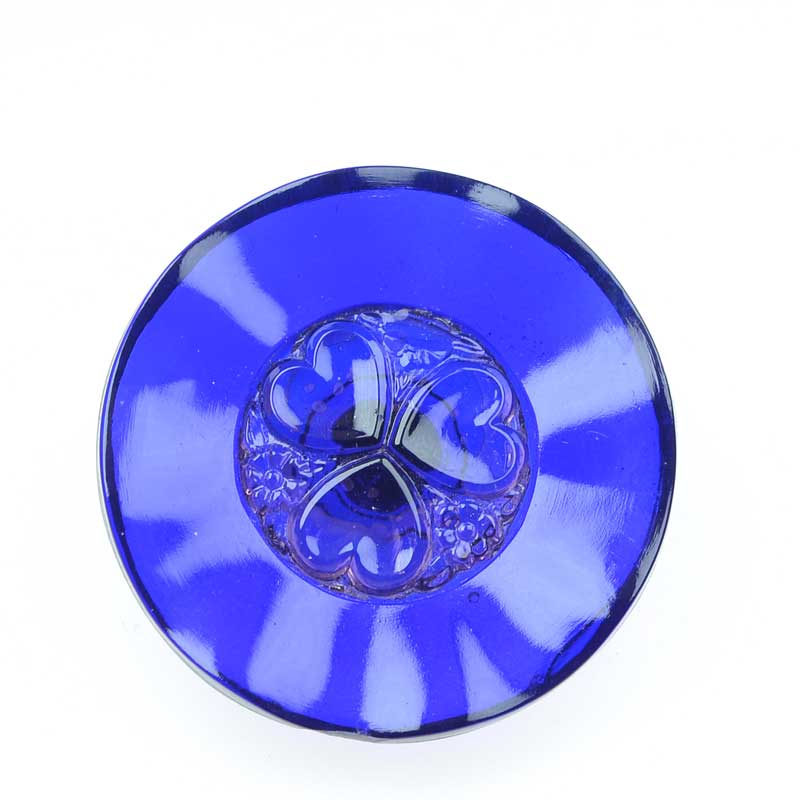 s66443 Czech Glass Button -  Heart Flower - So Cobalt