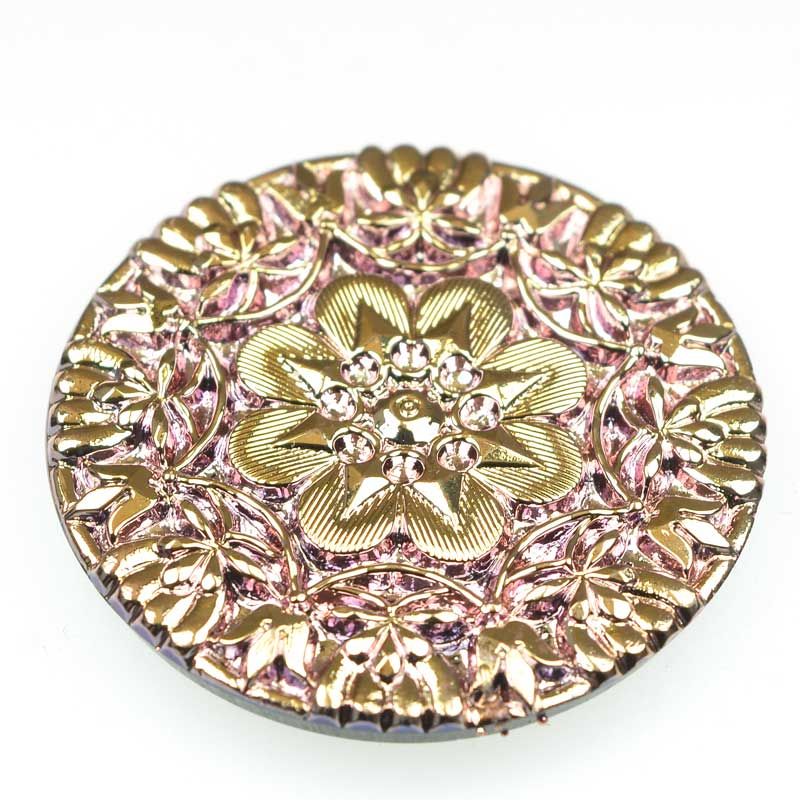s66444 Czech Glass NOT A Button Cabochon -  Aztec Calendar - Rosy Gold