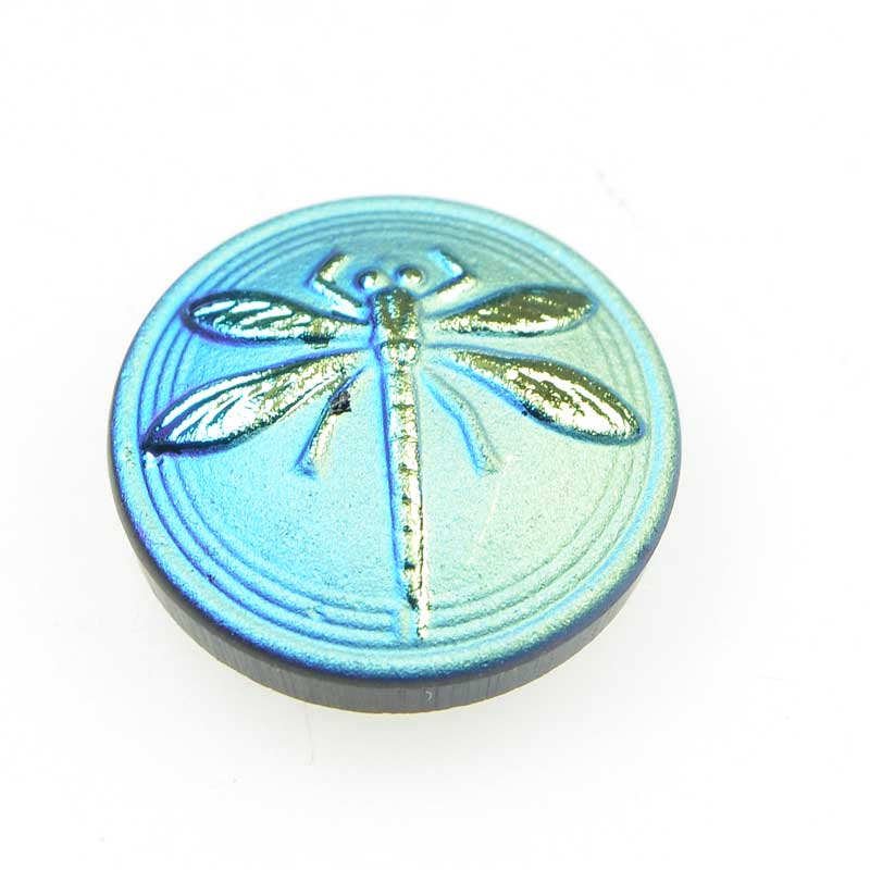 s66449 Czech Glass NOT A Button Cabochon -  Embossed Dragonfly - Matte Aqua Gold Mist