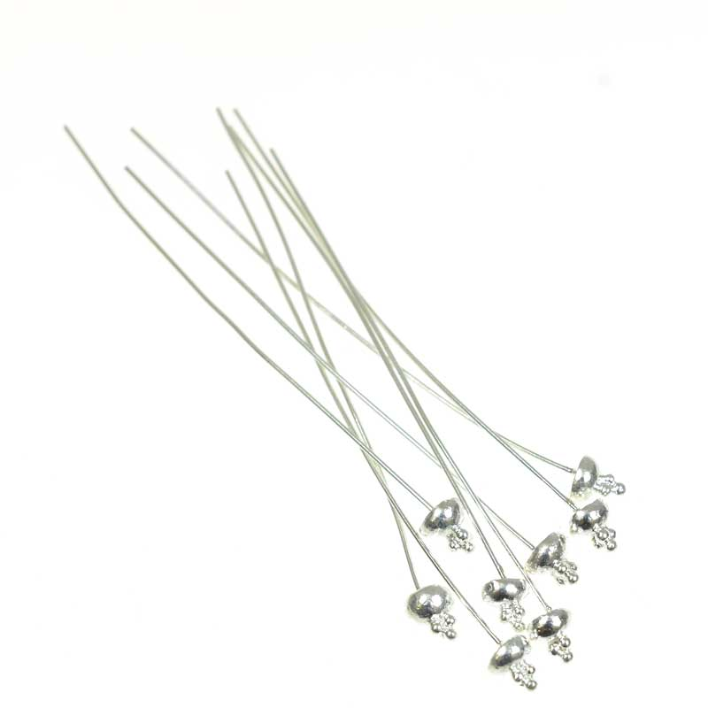 s66854 Headpins - 2.5in / 21ga Stacked Balls - Sterling Silver (10)