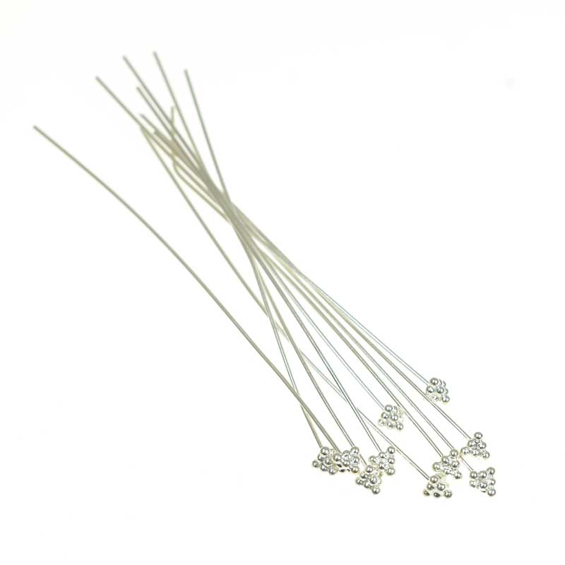 s66855 Headpins - 3in / 22ga Dome and Balls - Sterling Silver (4)
