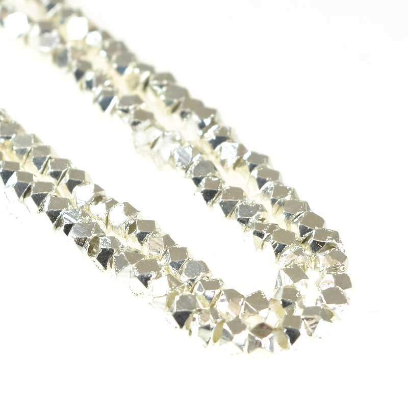 s67158 Metal Bead - 2.5mm Faceted Cube - Bright Silver (strand)
