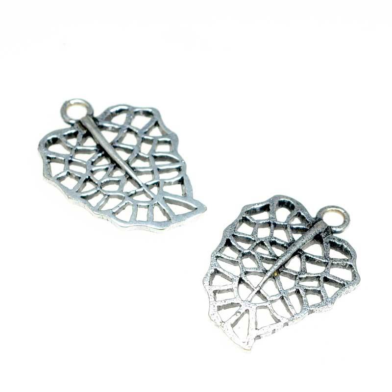 s67161 Charm -  Monstera Leaf - Antiqued Silver (2)
