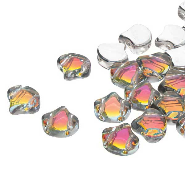 s67401 Czech Shaped Beads -  Ginko - Backlit Tequila