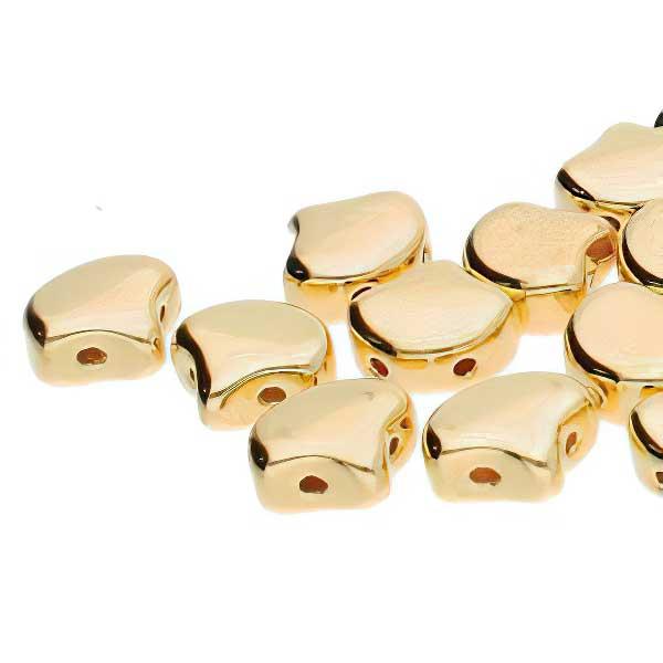 s67410 Czech Shaped Beads -  Ginko - 24 Kt Gold Plate