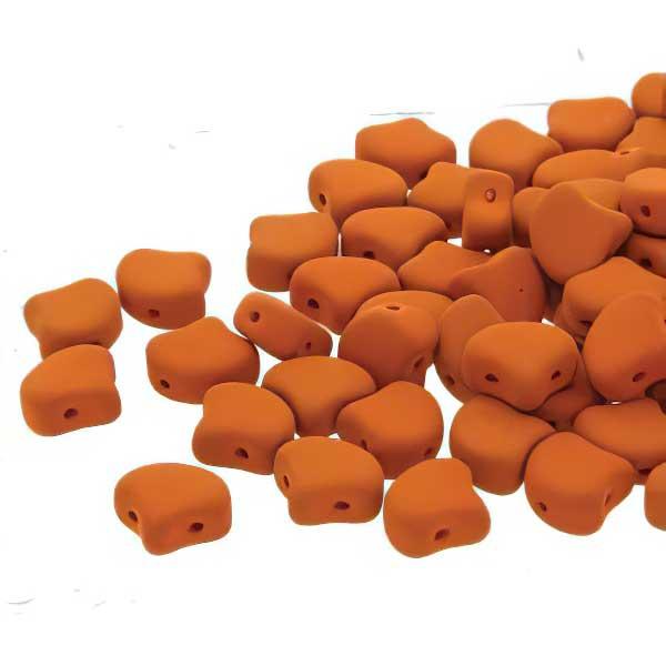 s67422 Czech Shaped Beads -  Ginko - Matte Velvet Carrot