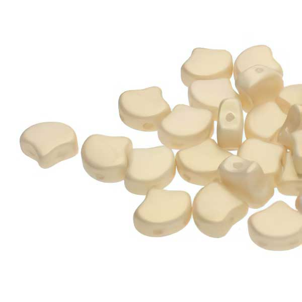 s67432 Czech Shaped Beads -  Ginko - Chatoyant Shimmer Dutch White