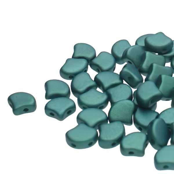 s67438 Czech Shaped Beads -  Ginko - Chatoyant Shimmer Green