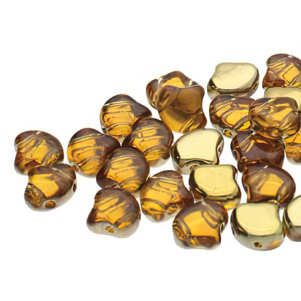 s67453 Czech Shaped Beads -  Ginko - Backlit Golden Ice