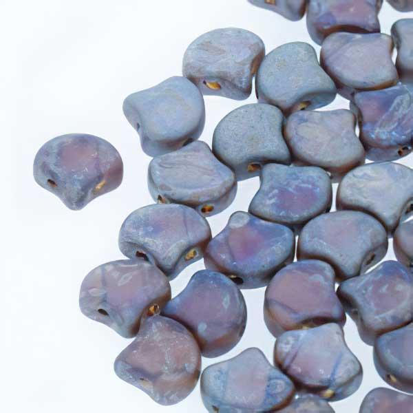 s67454 Czech Shaped Beads -  Ginko - Matte Amethyst Rembrandt